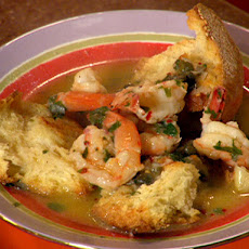 Shrimp and Bread Bowls and Olive-Pesto Dressed Tomatoes