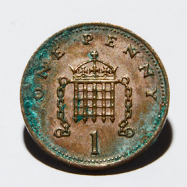 One Old Penny by Andy Grzess - Novices Only Macro ( uk, 1, old, blue, copper, green, one, £, oxidised, penny, currency )