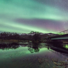 Aurora over river by Benny Høynes - Landscapes Waterscapes ( canon, winter, aurora borealis, norway, river )