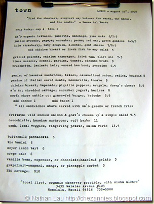 Town daily menu