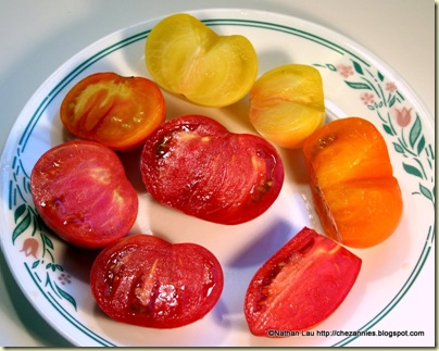 homegrown heirloom tomatoes sliced