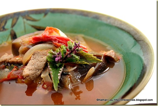 Pork and Eggplant Soup with Tomato and Shiso