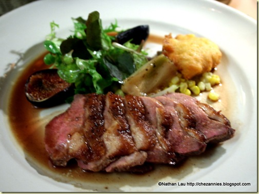 Grilled Sonoma Liberty duck breast with roasted figs and corn fritters @ Chez Panisse