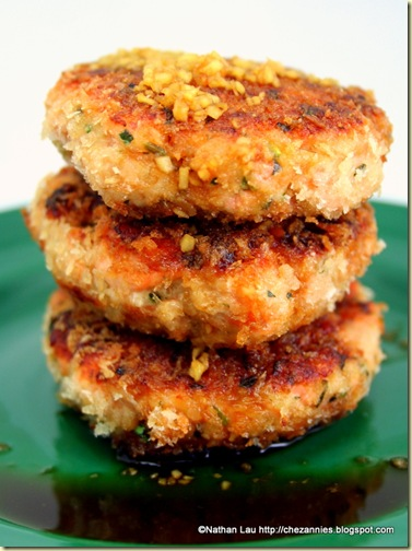 Wild Salmon Cakes with Kaffir Lime and Ginger