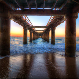 Jetty by Andre Bez - Buildings & Architecture Other Exteriors ( sunset, below, sea, jetty, pillars,  )