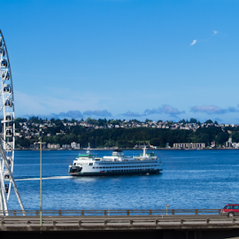 Seattle Ferry 2014 by Tye Kilo - Transportation Boats ( water, washington, puget sound, ferry, seattle, summer, bluesky, northwest, 206, downtown seattle, ferris wheel )
