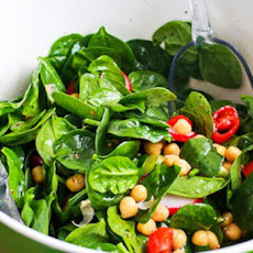 Mediterranean Spinach Salad with Garbanzos, Tomatoes, Radishes, and Sumac-Lemon Vinaigrette