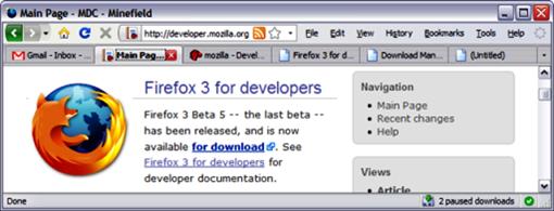 MozillaFirefoxMinefieldCustomizedToolbar