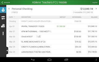 Screenshot of Abilene Teachers FCU Mobile