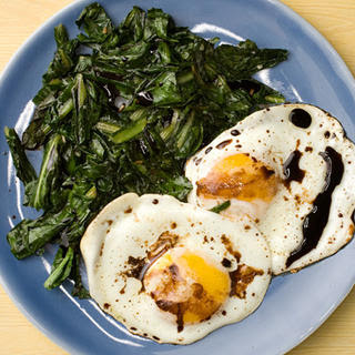 Wilted Greens with Balsamic Fried Eggs
