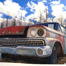 Old Ford by Joerg Schlagheck - Transportation Automobiles ( car, old, snow, rusty, ford, wreck. )
