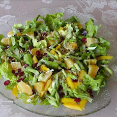 Bibb Greens Topped With Orange, Dried Cranberries and Sunflower