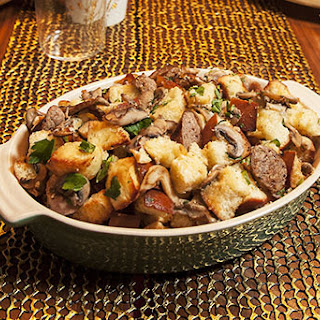 Brioche Stuffing with Wild Mushrooms, Chestnuts and Sweet Sausage