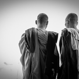 Monks in a floating market by Alessandro Morbidelli - People Portraits of Men ( monk, portrait )