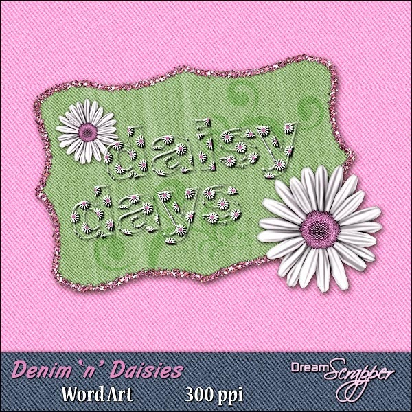 Denim 'n' Daisies Word Art