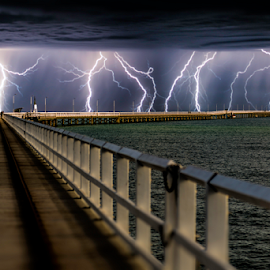 Get off the Jetty by Craig Eccles - Landscapes Weather ( thunder, water, lightning, lightning storm, sea, weather, thunder storm, ocean, jetty, thunder bolt, lightning strike., storm,  )