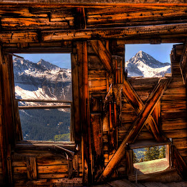 View from the Past by John Larson - Landscapes Mountains & Hills ( mountains, sky, forest trees, windows, log cabin )