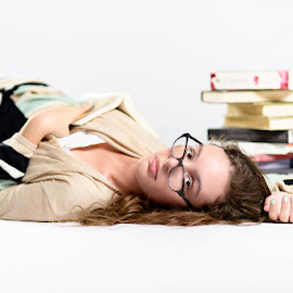 A Good Read by Jimmy Rash - People Portraits of Women ( seamless, books, class of 2015, glasses, teen, senior shoot, white )