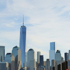 View of New York City sky line and Freedom Tower by Timothy Teter - City,  Street & Park  Skylines ( skyline, skyscrapers, nyc, new york city, freedom tower )
