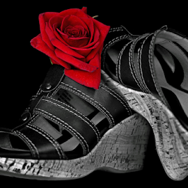 Footwear by Dipali S - Artistic Objects Clothing & Accessories ( shoes, rose, accessory, decorative, selective color, footwear, clothing, artistic, sandal, object, accessories )
