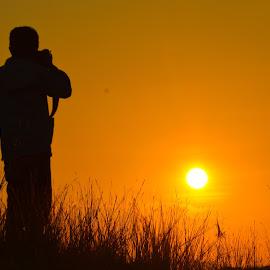 photograher and sunrise by Rinal Dino - People Portraits of Men ( sunrise, landscape, people, portrait )