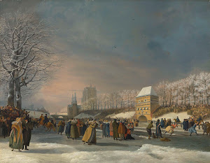 RIJKS: Nicolaas Baur: Women's Skating Competition on the Stadsgracht in Leeuwarden, 21 January 1809 1809