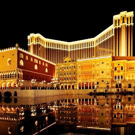 The Venetian by Daniel Set - Buildings & Architecture Office Buildings & Hotels ( macao, water, reflection, dark, night, hotel, venetian )