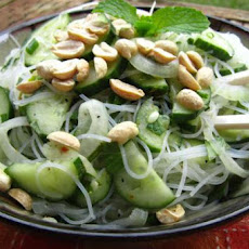 Rice Noodles With Thai Basil, Mint and Peanuts