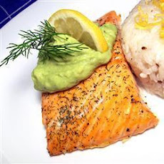 BBQ Salmon with Avocado and Yoghurt Sauce