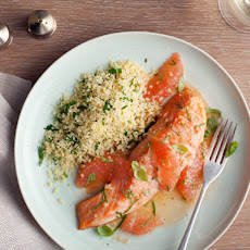 Roasted Salmon with Shallot Grapefruit Sauce