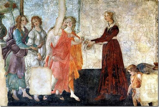 Alessandro FILIPEPI dit BOTTICELLI - Vénus et les Trois Grâces offrant des présents à une jeune fille