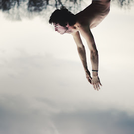 Fall into the sky by Aurora Bo-realist - People Portraits of Men ( sky, dream, fall, boy, man )