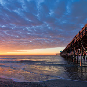 Atlantic Morning by Brian Young - Landscapes Sunsets & Sunrises ( folly beach, pier, sc, ocean, sunrise, morning, south carolina )
