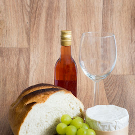 Wine, Bread & cheese by The Newborn Studio Sussex - Food & Drink Alcohol & Drinks ( wine and food, wine, grapes, french cheese, bread, rose wine, cheese, green grapes )