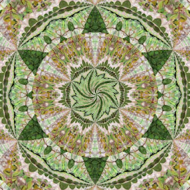 The Mosaic by Tina Dare - Illustration Abstract & Patterns ( abstract, greens, patterns, designs, triangles, spokes, repeating, shapes )
