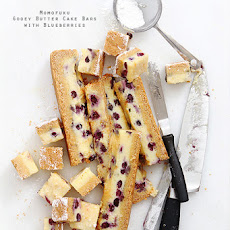 Momofuku Ooey Gooey Butter Cake Bars with Blueberries