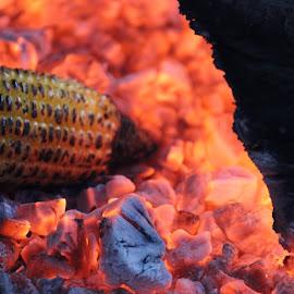 Garama Garam.. Too hot... by Supriya Bote - Food & Drink Cooking & Baking ( canon, red, food, street, hot, cooking, corn, street photography )