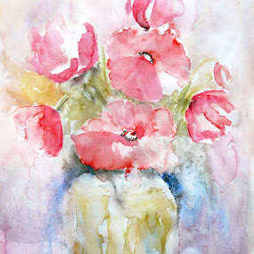 Poppies by Jasna Dragun - Painting All Painting ( the painting, watercolor, still life, poppies, flowers,  )