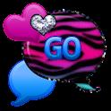 GO SMS - Pastel Zebra Hearts