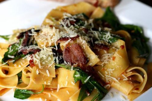 Pappardelle with Arugula and Bacon