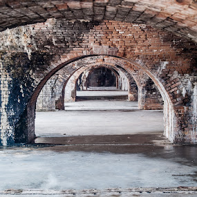 Repeating Arch by Jon Cody - Buildings & Architecture Public & Historical ( history, brick, florida, arches, fort pickens, fort )
