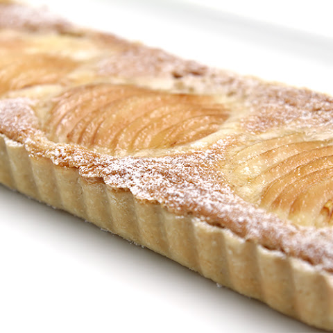 Pear tart with hazelnut frangipane and cardamom Chantilly