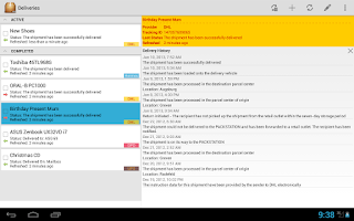 Screenshot of Deliveries Package Tracker