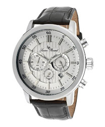 Lucien Piccard Men's Monte Viso Chronograph White Dial Black Genuine Leather LP-12011-02S Watch