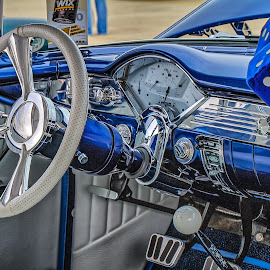 Blue Chevy Interior by Ron Meyers - Transportation Automobiles