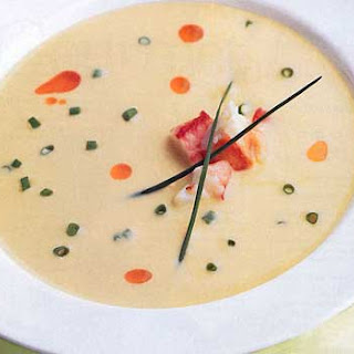Chilled Corn Soup with Crab and Chile Oil