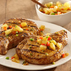 Grilled Spiced Brandy & Herb Pork Chops with Pineapple Salsa
