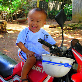 When I grow up, I'm ... by Leong Jeam Wong - Babies & Children Toddlers ( child, motorcycle, hainanese, helmet, toddler, cheerful, boy, kid, hainan )