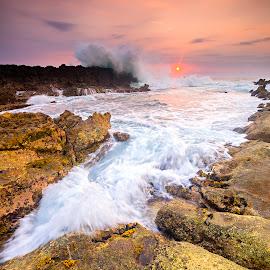 Wild Stream by Arya Wanamarta - Landscapes Beaches ( water, sea, rock, beach, banten, sun, beaches, seas, indonesia, sunset, west java, java, sunrise, rocks, golden hour )