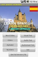 Screenshot of Learn Spanish vocabulary  LITE